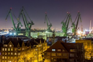 Gdańsk shipyard at night