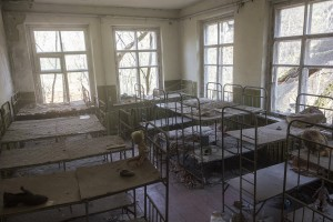 Abandoned kindergarten dorm, village in Chernobyl area